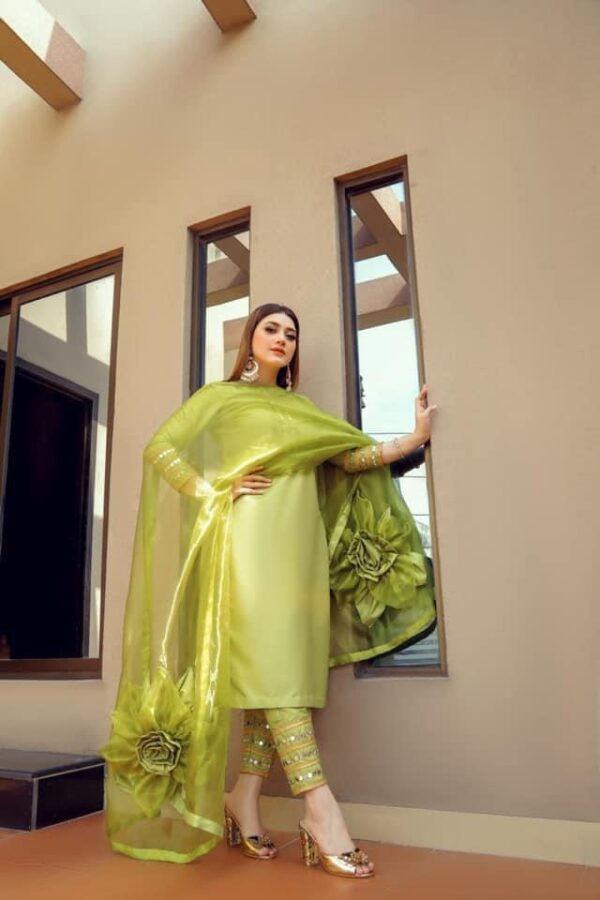 Amazing Green Color Full Stitched Designer Organza Real Mirror Embroidered Work Pent Salwar Suit For Wedding Wear