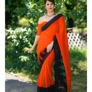 Beautiful Orange Color Party Wear Dolla Silk Fancy Net Silk Lace Multi Work Designer Saree Blouse For Ladies