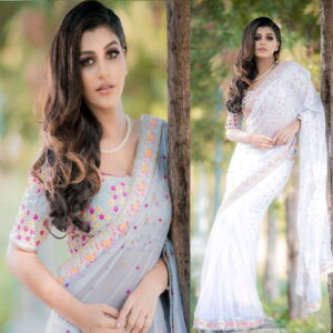 Entrance Grey Color Festive Wear Georgette Tapetta Silk Soft Lace Fancy Multi Work Saree Blouse For Ladies