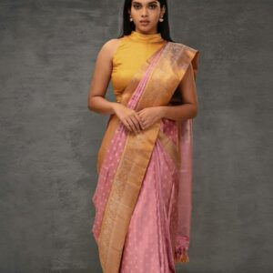 Charming Pink Color Wedding Wear Kanchipuram Silk Beautiful Printed Saree Blouse For Ladies