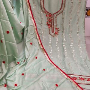 Fabulous Light Green Color Function Wear Cinnon Designer Machine Diamond All Over Neck Embroidered Work Daman Lace Salwar Suit For Ladies