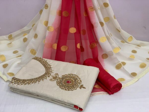 Dazzling Off White Color Fancy Khatli Hand Work Chanderi Cotton Salwar Suit For Function Wear