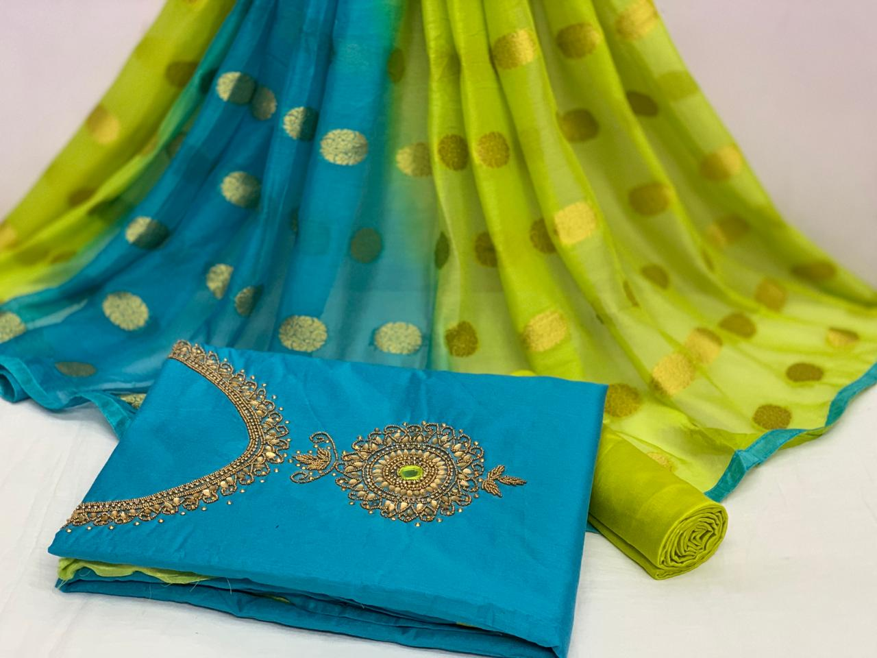 Alluring Sky Blue Color Chanderi Cotton Designer Hand Khatli Work Salwar Suit For Function Wear