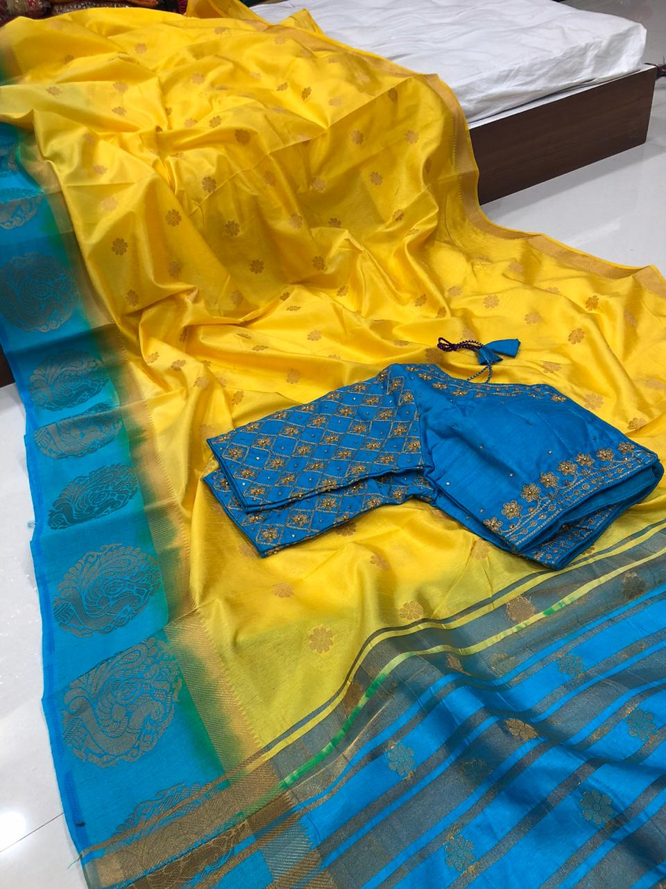 Demanding Yellow Color Designer Raw Silk Kanjivaram Butti Zari Thread Work Ready Made Blouse Saree For Wedding Wear