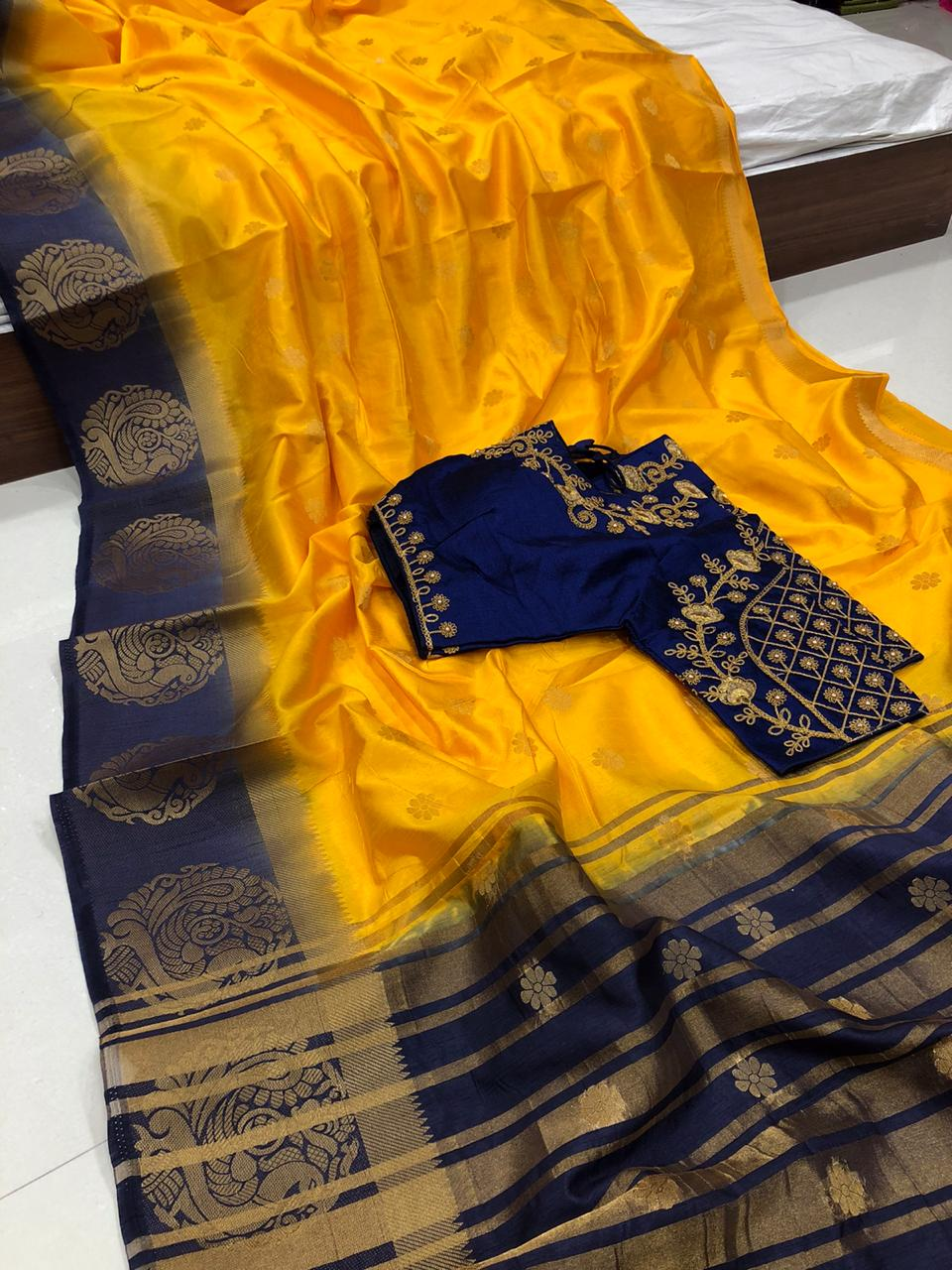 Captivation Mustard Color Multi Thread Kanjivaram Butti Work Ready Made Blouse Raw Silk Saree For Party Wear