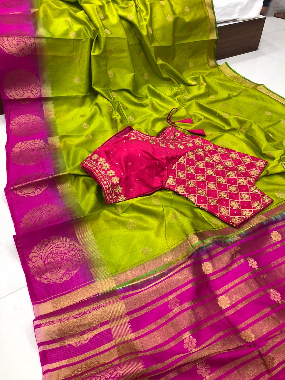Stunning partywear Mehendi Green Color Raw Silk Kanjivaram Butti Multi Thread Work Ready Made Blouse Saree For Ladies