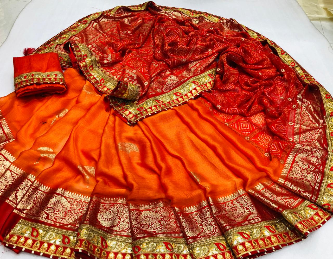 Pretty Orange Color Designer Fancy Chiffon Bandhej Gotta Patti Work Saree Blouse For Function Wear