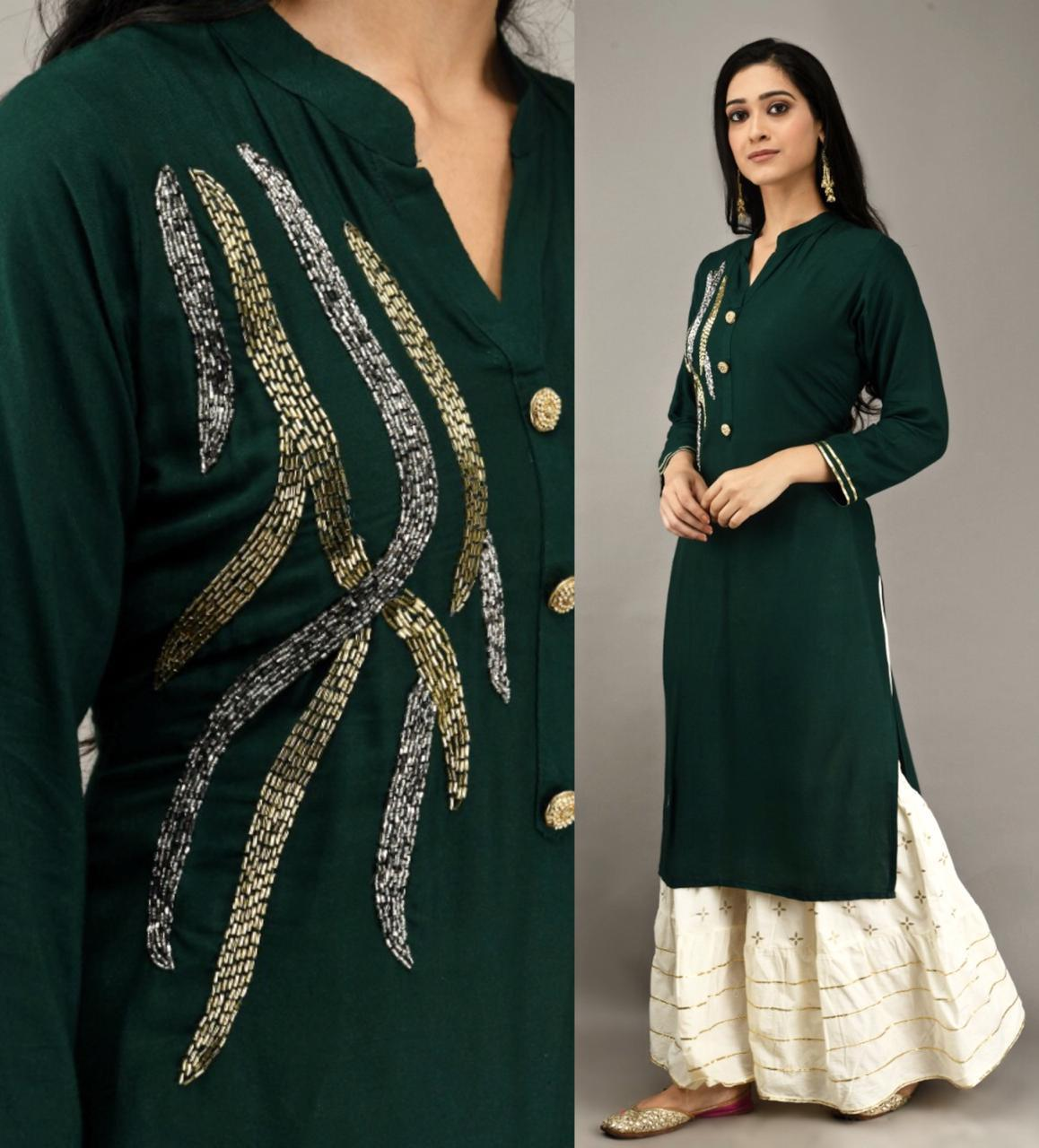 Sophisticated Dark Green Color Full Stitched Rayon Khatli Work Designer Plazo Kurti For Festive Wear