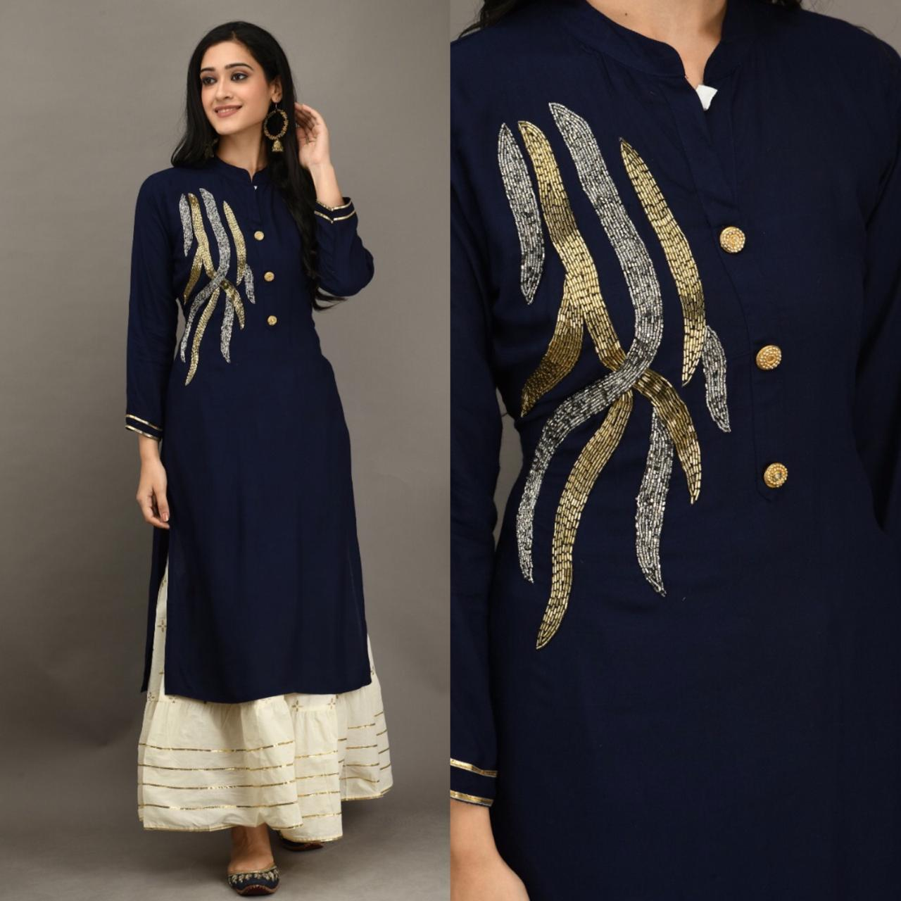 Stupendous Navy Blue Color Party Wear Rayon Fancy Khatli Work Ready Made Kurti Plazo For Ladies