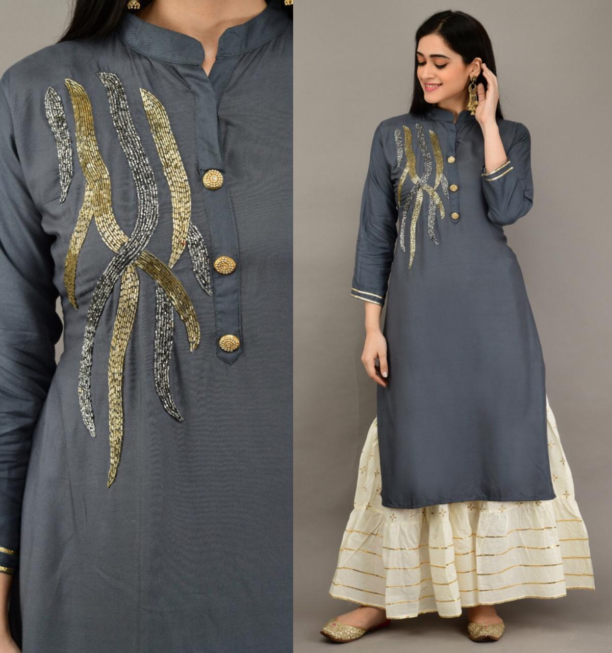 Astonishing Grey Color Beautiful Khatli Work Full Stitched Rayon Kurti Plazo Set For Function Wear