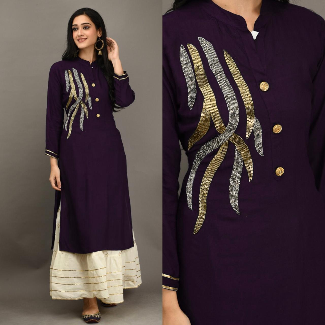 Staggering Violet Color Party Wear Fancy Rayon Designer Khatli Work Full Stitched Kurti Plazo Set For Ladies