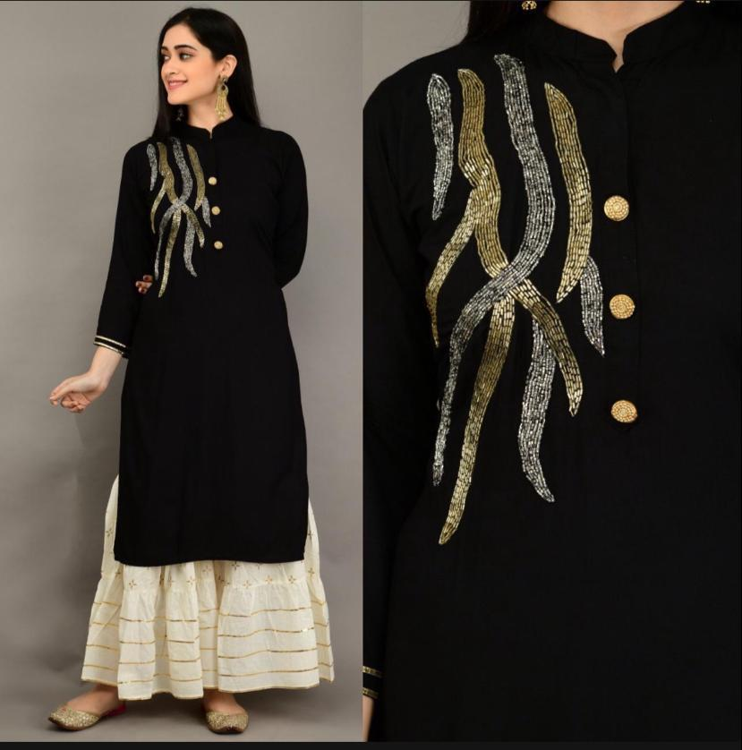 Surprising Black Color Ready Made Rayon Khatli Work Designer Wedding Wear Plazo Kurti