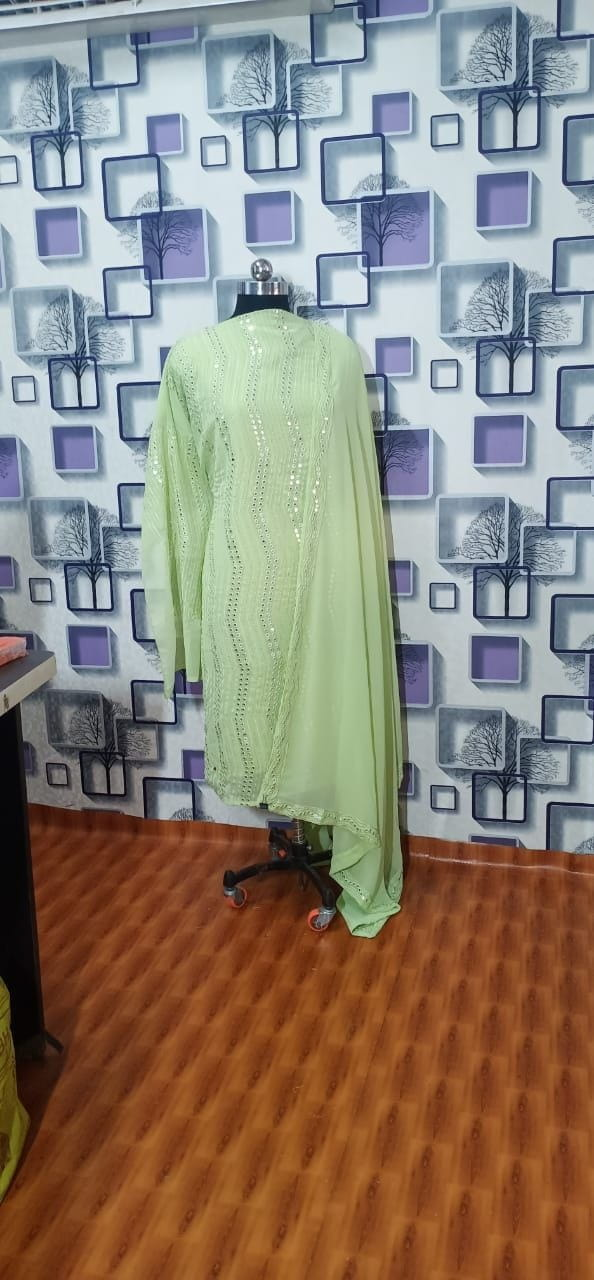 Phenomenal Light Green Color Embroidered Sequence Designer Faux Georgette Salwar Suit For Festive Wear