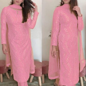Thrilling Light Pink Color Beautiful Sequence Embroidered Work Faux Georgette Salwar Suit For Function Wear
