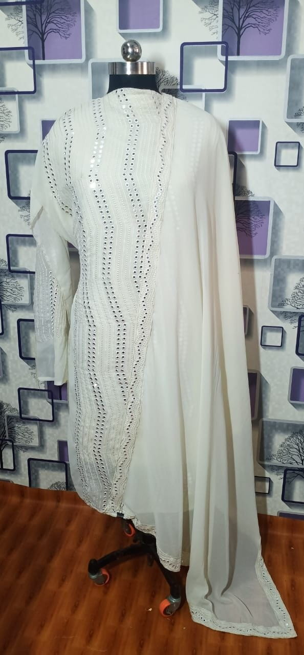 Shattering Off White Color Designer Faux Georgette Embroidered Designer Sequence Work Wedding Wear Salwar Suit