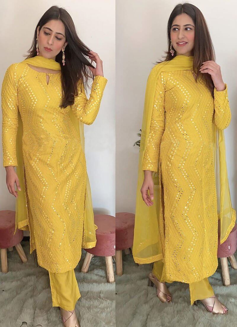Confounding Yellow Color Designer Faux Georgette Festive Wear Sequence Embroidered Work Fancy Salwar Suit For Ladies