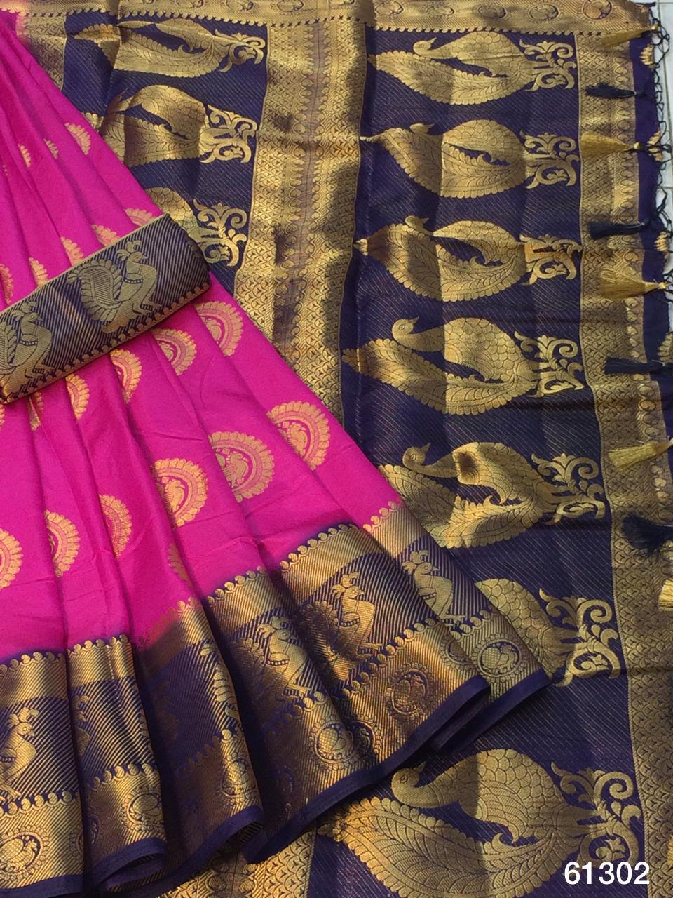 Party Rani Pink Color Beautiful Grand Pallu Nylon Silk Dying Material Saree Blouse For Party Wear
