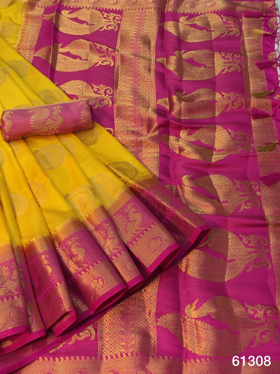 Party Yellow Color Festive Wear Nylon Silk Grand Pallu Dying Material Saree Blouse