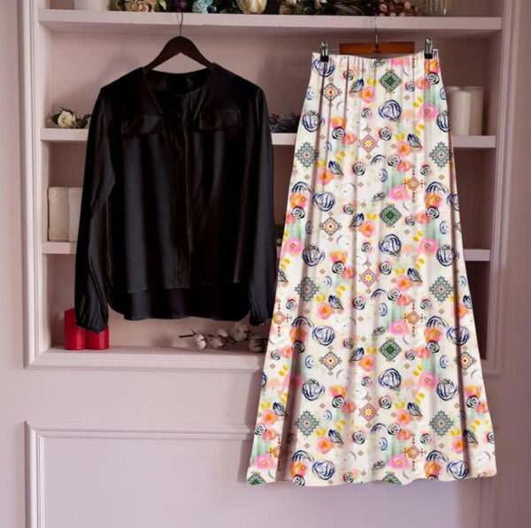 Spectacular Multi Color Designer Digital Printed Cotton Fancy Festive Wear Ready Made Top Skirt For Ladies