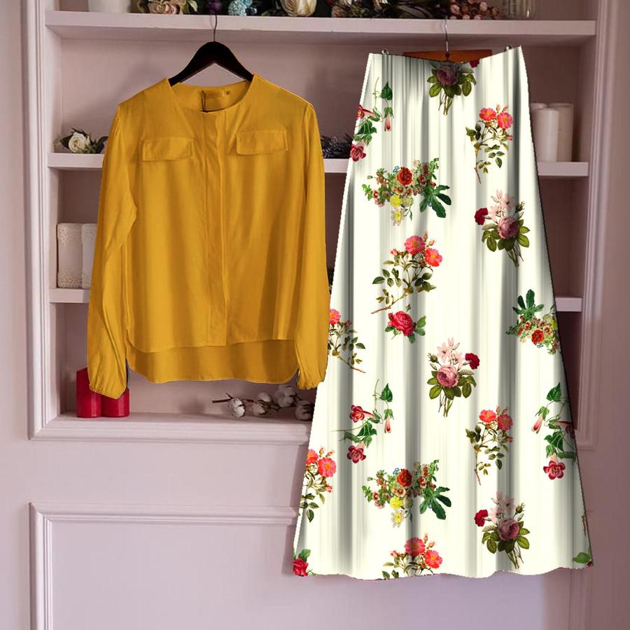 Opulent Mustard Color Ready Made Cotton Designer Digital Printed Skirt Top For Party Wear