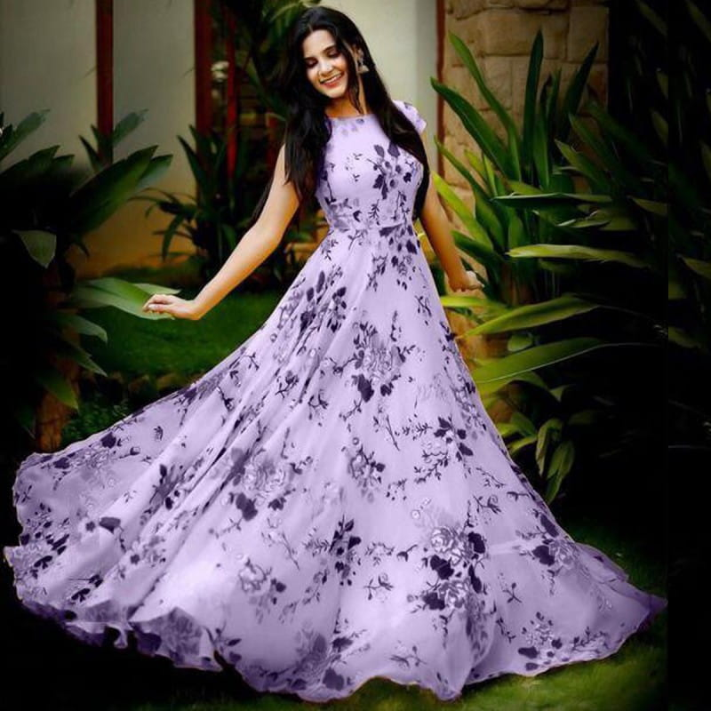 Marvellous Light Purple Color Designer Digital Printed Heavy Crape Full Stitched Gown For Festive Wear