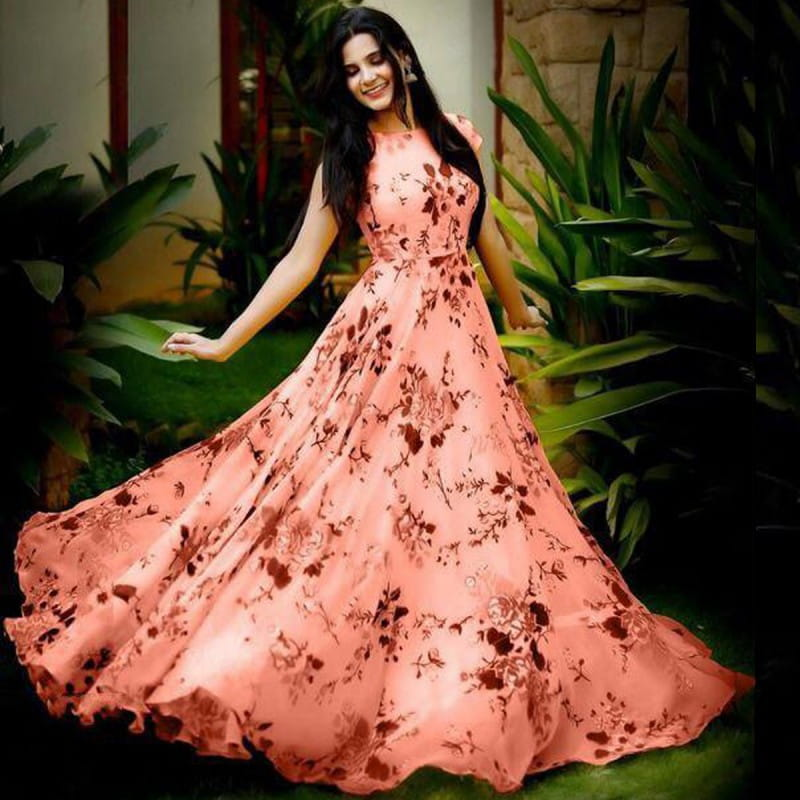 Awesome Peach Color Festive Wear Ready Made Heavy Crape Digital Printed Gown For Ladies