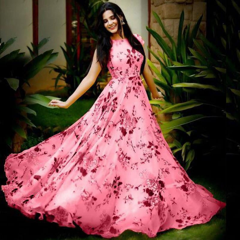 Outstanding Light Pink Color Ready Made Crape Heavy Digital Printed Party Wear Gown
