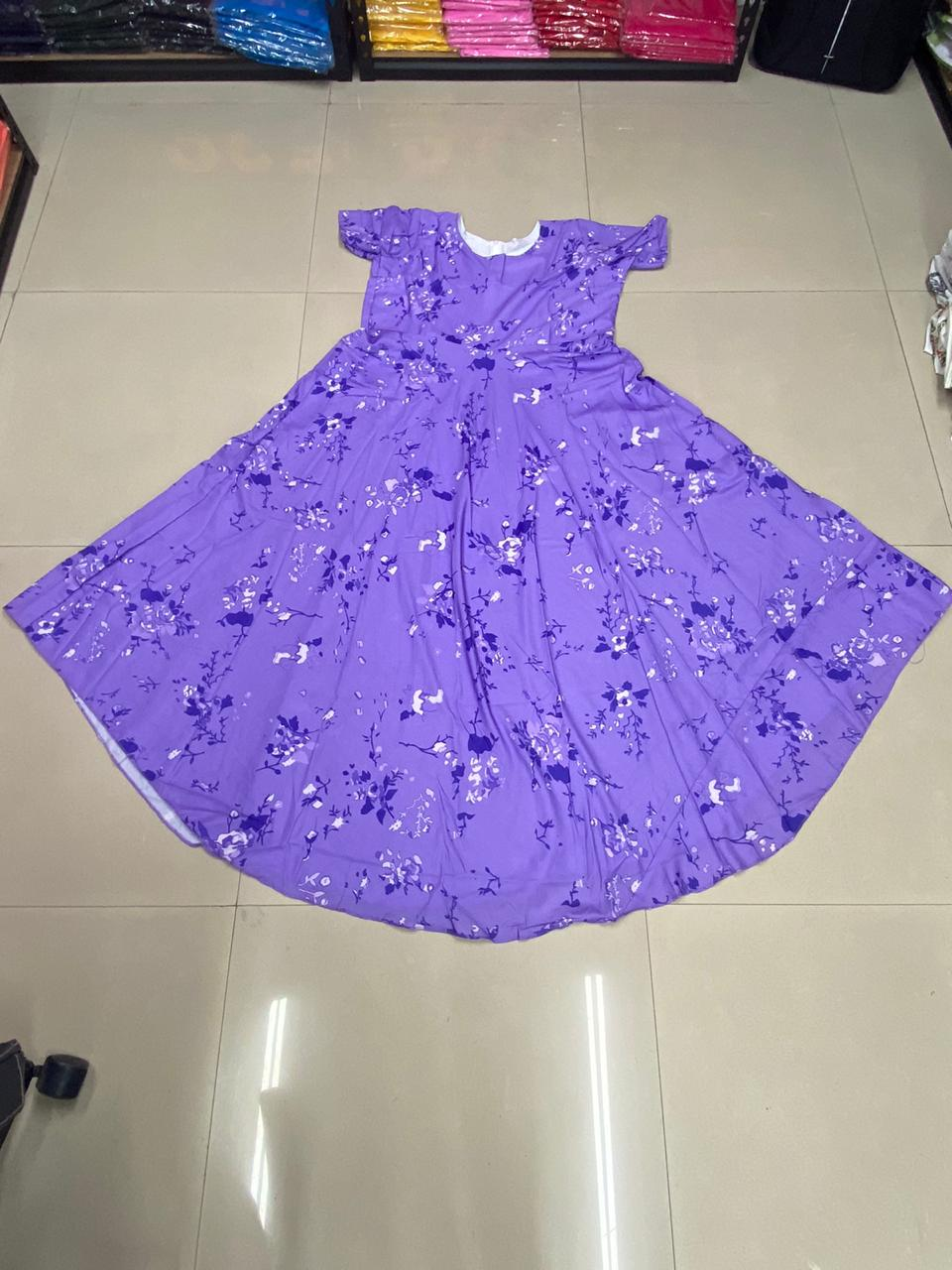 Adorable Violet Color Festive Wear Full Stitched Digital Printed Heavy Crape Gown For Ladies