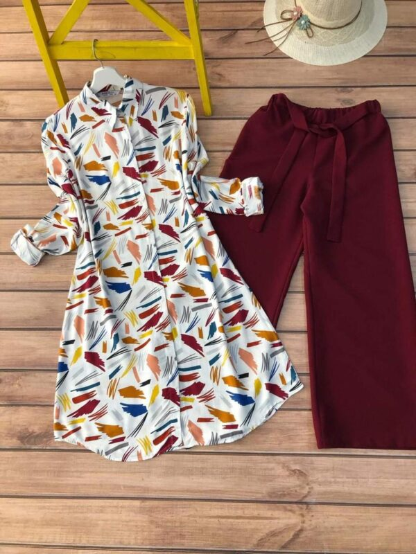 Intricate Maroon Color Ready Made Function Wear Flex Cotton Fancy Printed Kurti Plazo For Ladies
