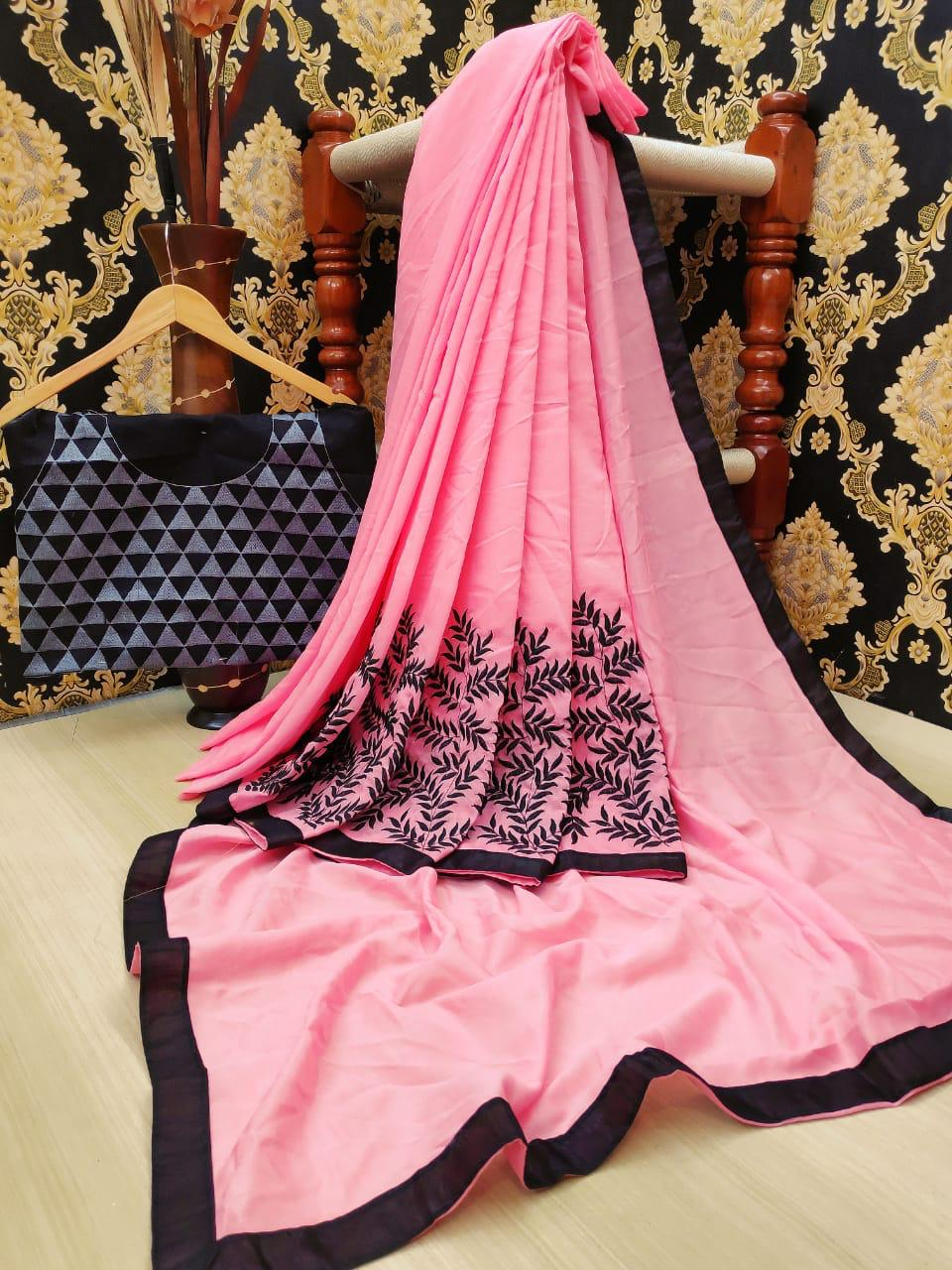 Surpassing Pink Color Vichitra Silk Embroidered Border Saree Blouse