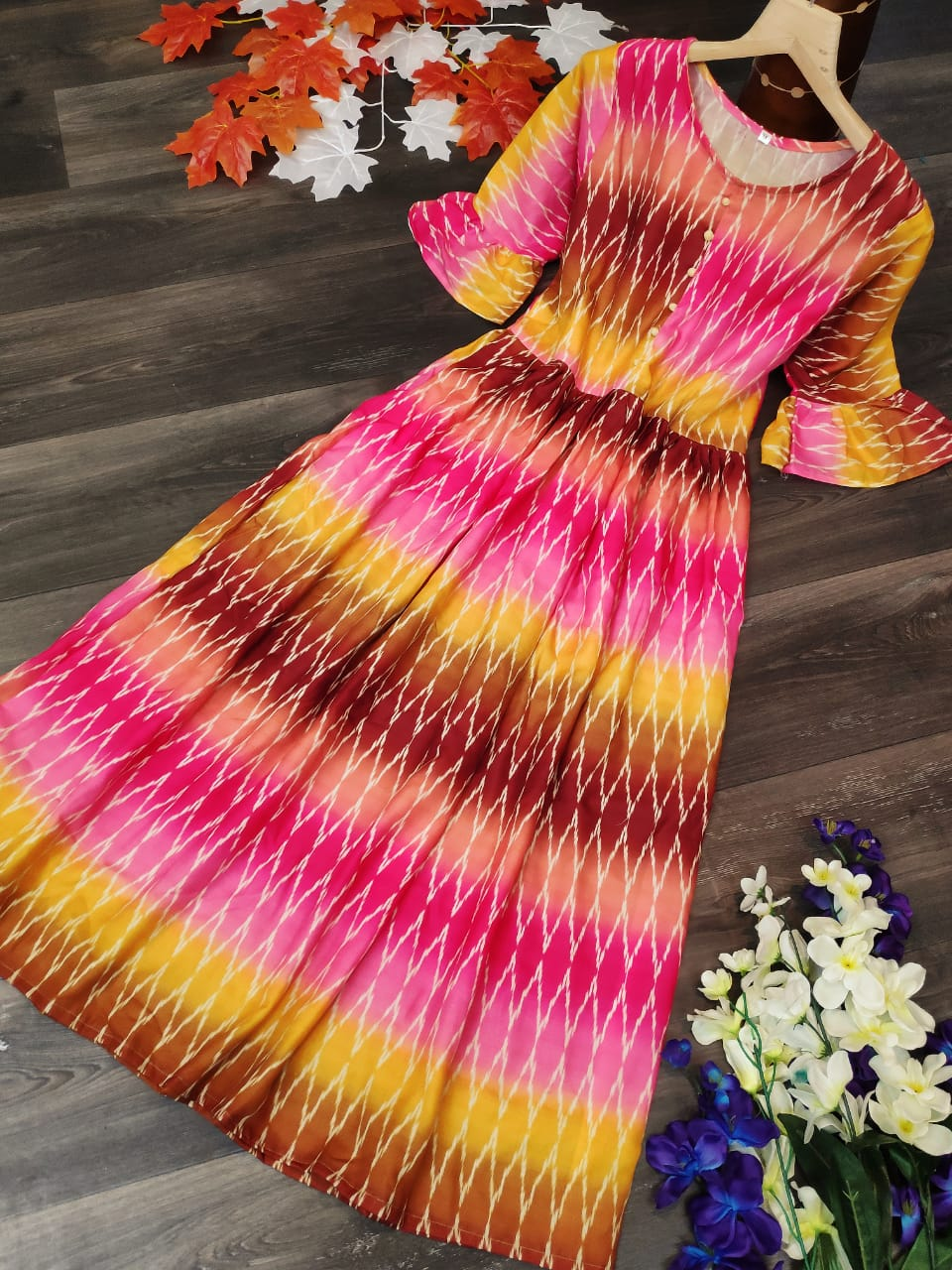 Incredible Pink Color Ready Made Festive Wear Cotton Flex Printed Fancy Long Kurti For Ladies