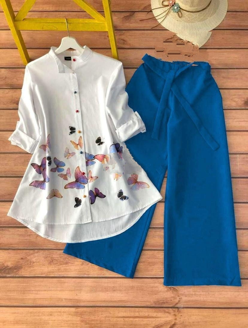 Prominent Sky Blue Color Party Wear Cotton Printed Rayon Ready Made Kurti Plazo For Ladies
