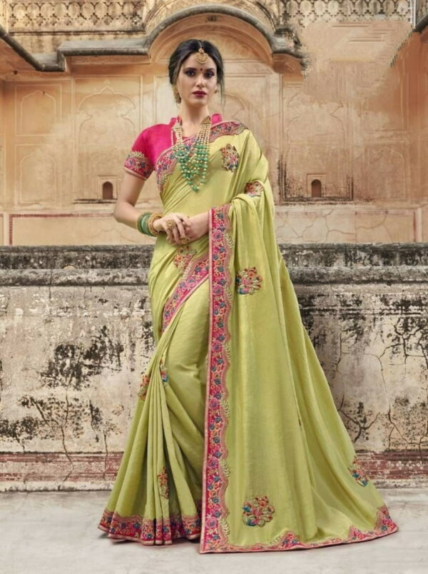 Capricious Light Green Color Wedding Wear Vichitra Silk Moti Embroidered Work Designer Saree Blouse