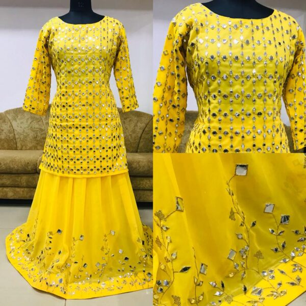 Fabulous Yellow Color Wedding Wear Georgette Paper Mirror Thread Work Top With Lehenga