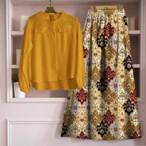 Stunning Mustard Color Ready Made Digital Printed Rayon Festive Wear Skirt Top For Ladies