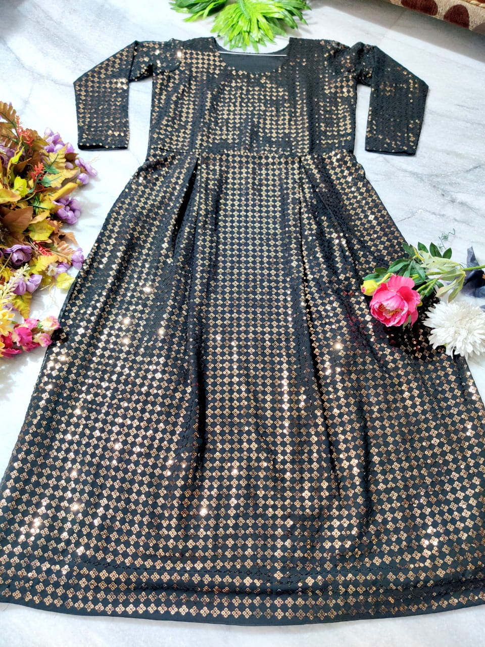 Fabulous Black Color Designer Georgette Sequence Embroidered Work Gown With Dupatta For Wedding Wear