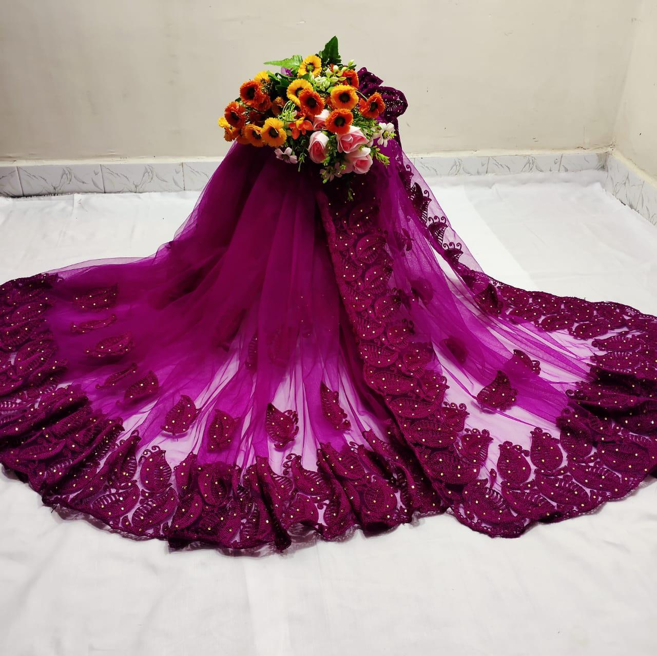 Adorable Violet Color Designer Chain Stitch Stone Hand Work Mono Net Wedding Wear Saree Blouse