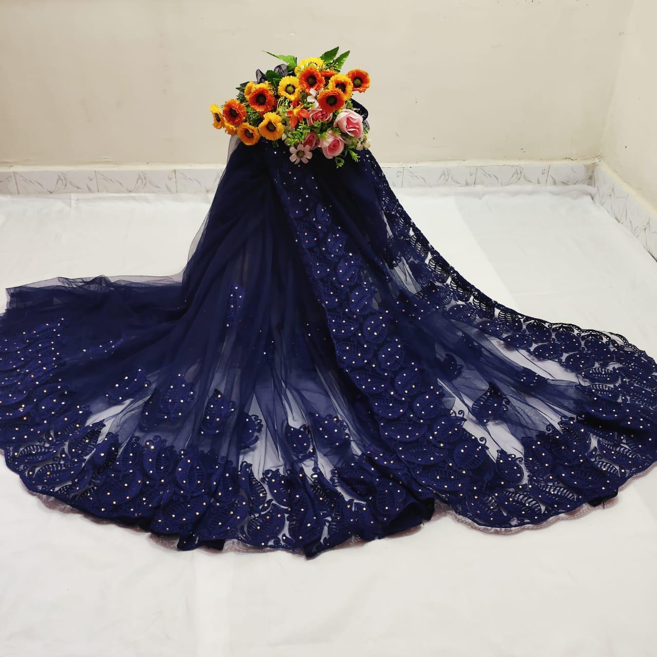 Preferable Wear Navy Blue Color Designer Chain Stitch Hand Stone Work Mono Net Saree Blouse