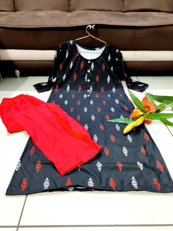 Energetic Black Color Full Stitched Rayon Digital Printed Round Neck Button Style Plazo Kurti For Festive Wear