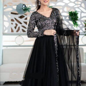 Breath taking Black Color Wedding Wear Nylon Net Sequence Work Full Stitched Lehenga Choli