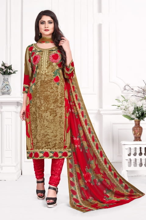 Good looking Wear Apricot Color Fancy Printed Leyon Dress Material For Ladies