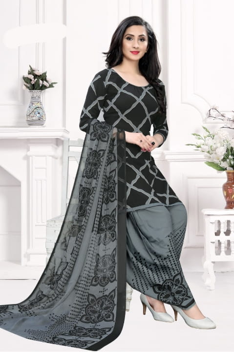 Radiant Black Color Designer Printed Leyon Dress Material For Party Wear