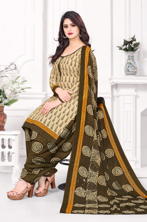 Amazing Mehendi Green Color Function Wear Leyon Designer Printed Salwar Suit For Ladies