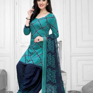 Attractive Rama Blue Color Fancy Printed Leyon Dress Material For Festive Wear