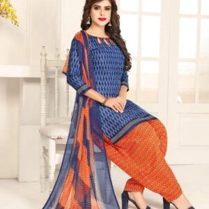Stupefying Dark Blue Color Beautiful Printed Leyon Festive Wear Salwar Suit For Ladies