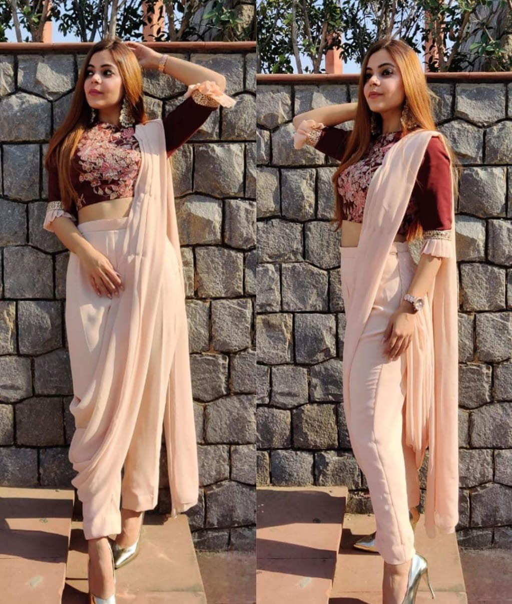 Gorgeous Wear Peach Color Designer Ready Made Butter Silk Digital Printed Indo Western