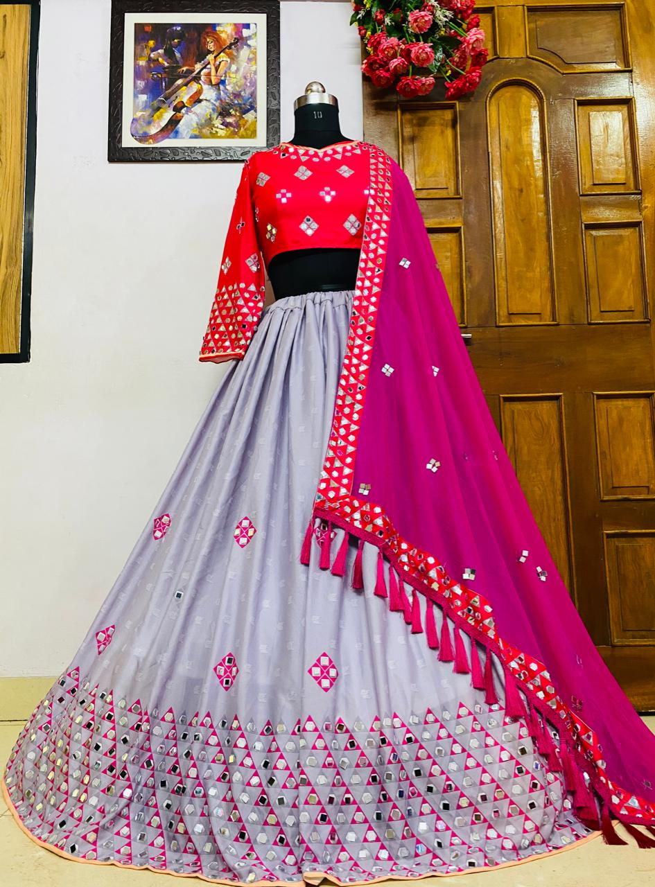 Sizzling Rani Pink Color Festive Wear Soft Butter Silk Digital Printed Real Mirror Work Lehenga Choli
