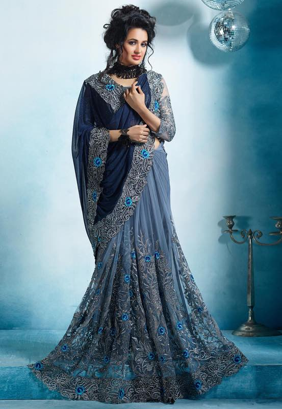 Phenomenal Grey Color Fancy Net Georgette Designer Embroidered Work Function Wear Saree Blouse
