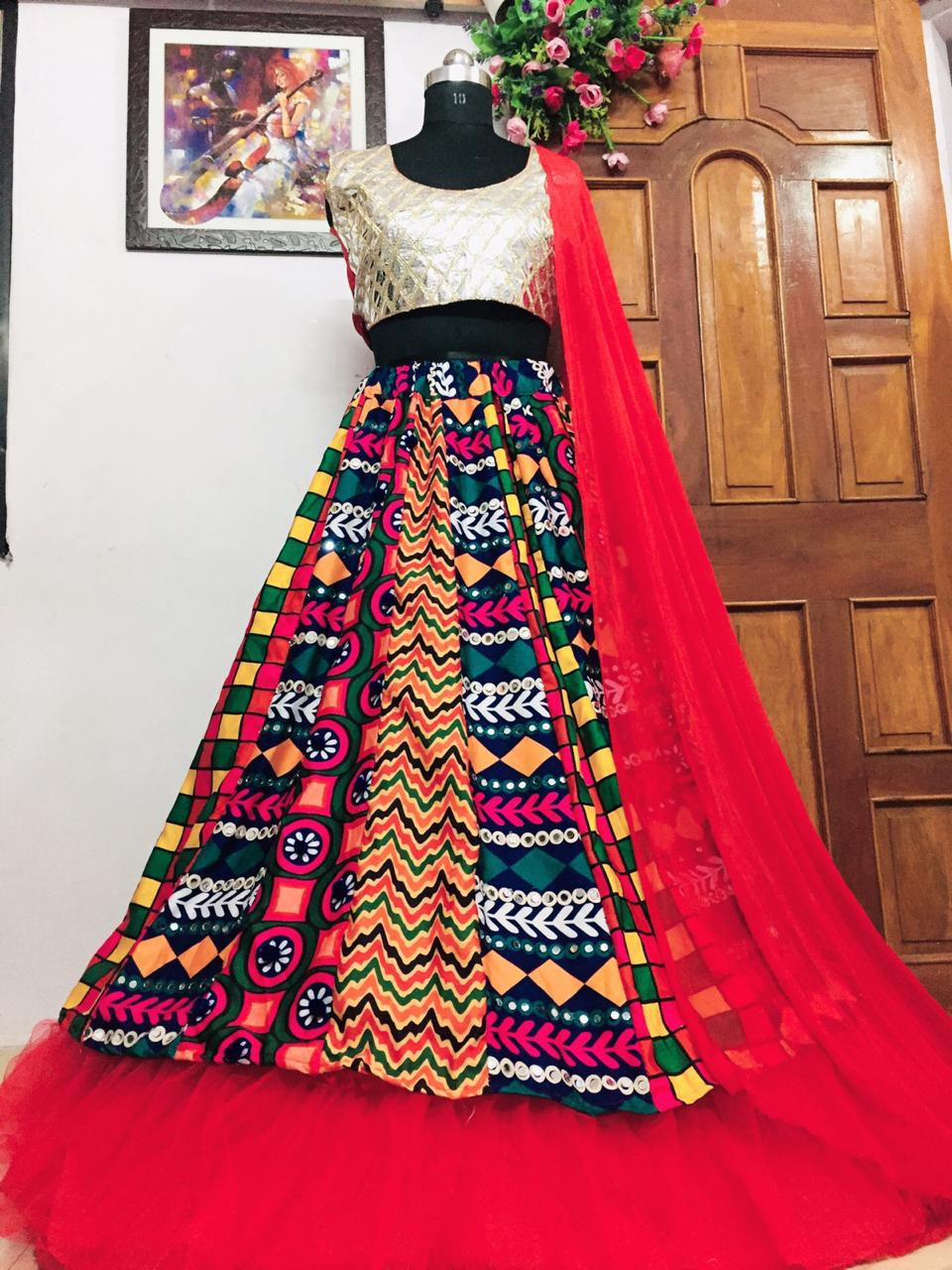 Bewildering Multi Color Designer Foil Mirror Work Rayon Cotton Function Wear Lehenga Choli