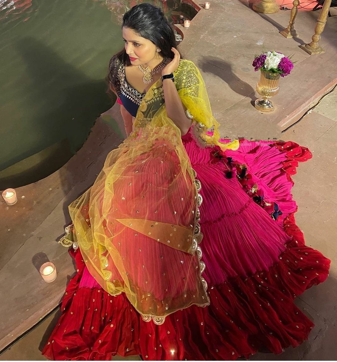 Shattering Rani Pink Color Designer Georgette Moti Ruffle Work Lehenga Choli For Wedding Wear